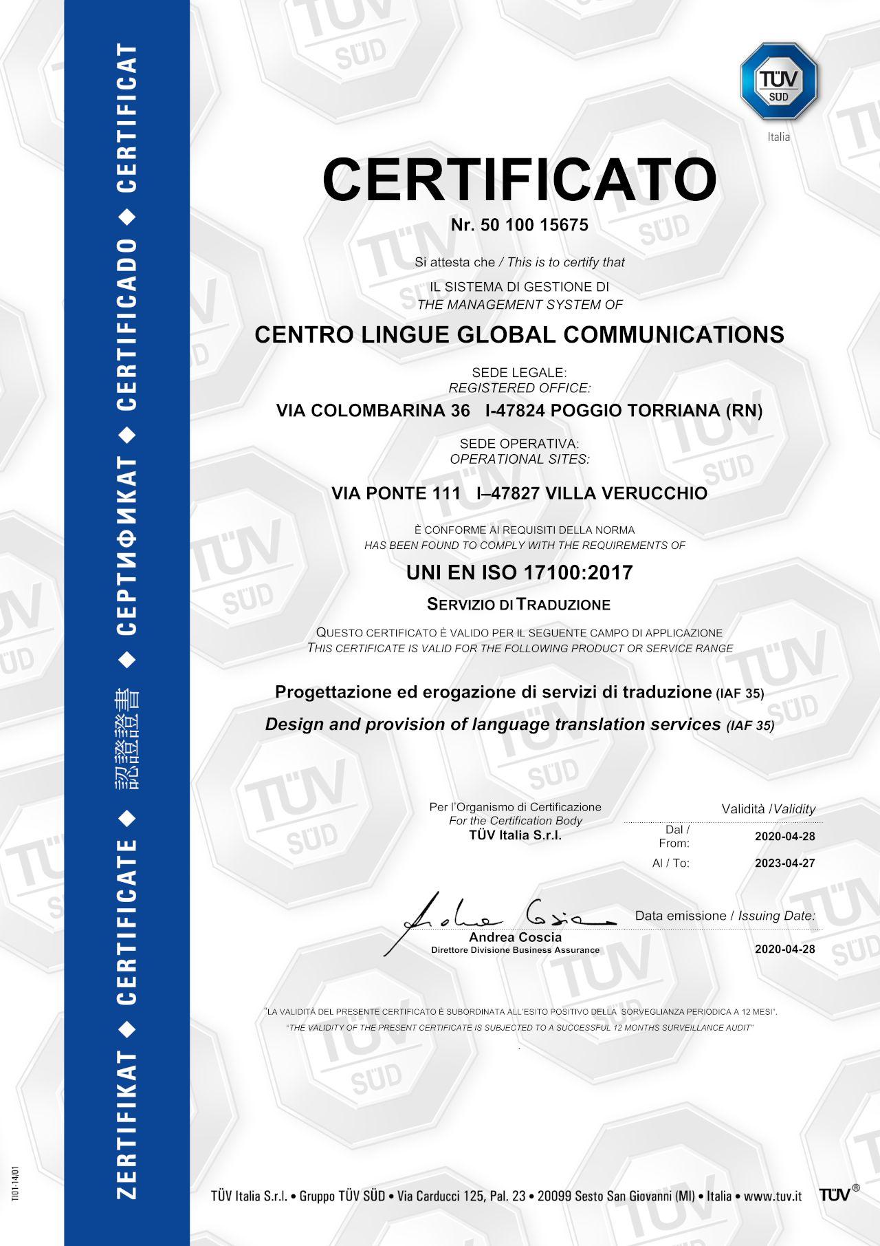 certificato-tuv-centro-lingue